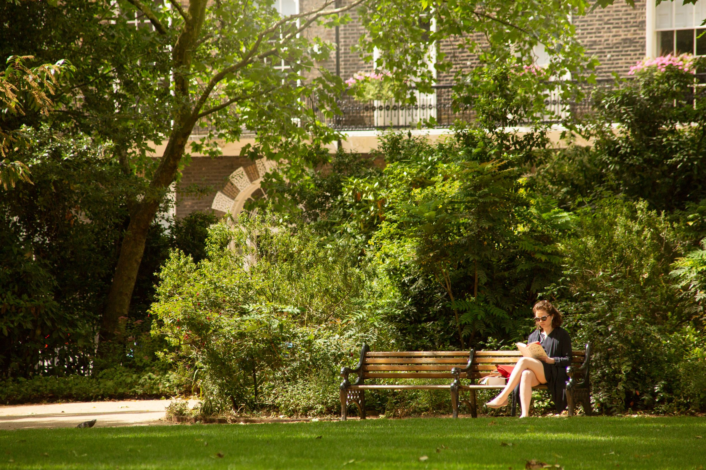 woman sat on bench reading